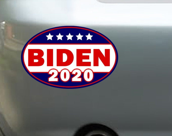 "10X 6"" x 4"" Joe Biden 2020 oval bumper sticker or magnet, Biden Election Sticker 6x4 Sticker Magnet or bumper sticker or bumper magnet"