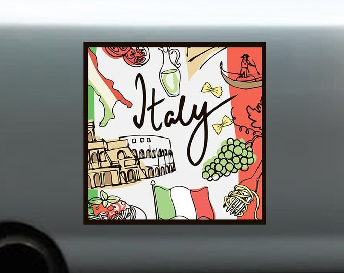 Italy Bumper Sticker / Laptop Sticker 4 inch by 4 inch (4x4) sticker with 3 mil plastic coating.