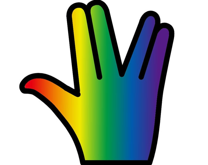 """Rainbow Pride - The Shocker hand outline sticker or magnet in various heights, 3"""" to 9"""""""