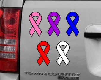 Cancer / Fallen color Ribbon 3 inch x 6 inch magnet OR sticker premium vinyl print with uv protected plastic coating