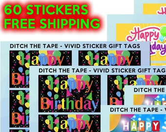 60 Gift Tag Stickers fun and classic 2 1/2 inch wide x 1 1/2 inch high Vivid Tag Stickers Christmas Birthdays Anniversary presents and cards