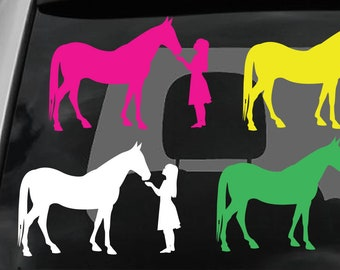 Girl Feeding Horse Die Cut Vinyl Decal various colors and sizes available