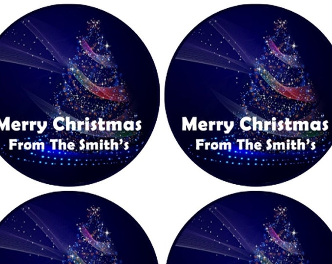 Round Stickers Christmas Personalized and Custom with your name 3 inch and 2 inch christmas stickers