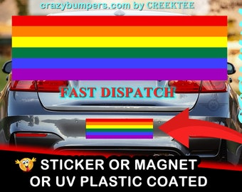 Pride Rainbow Bumper Sticker 10 x 3 UV Plastic Coated or Magnetic Bumper Sticker Available