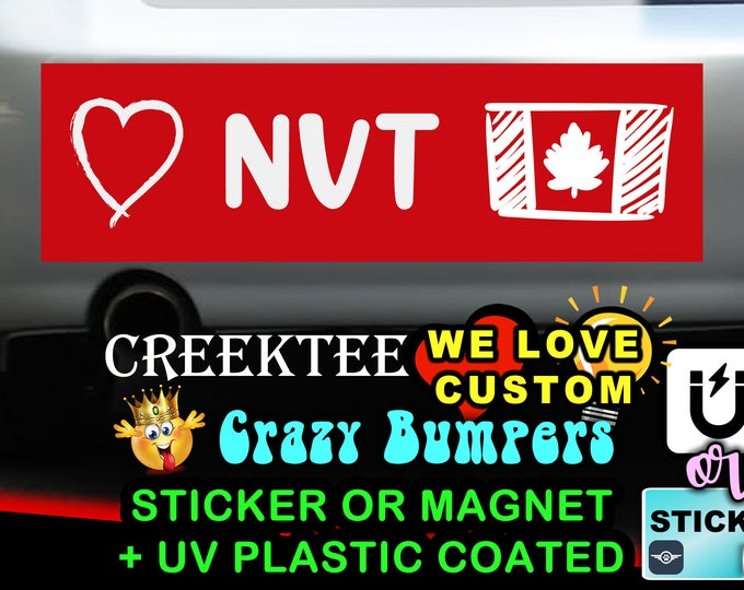 "Love Nunavut Canada Bumper Sticker or Magnet in new sizes, 4""x1.5"", 5""x2"", 6""x2.5"", 8""x2.4"", 9""x2.7"" or 10""x3"" sizes"