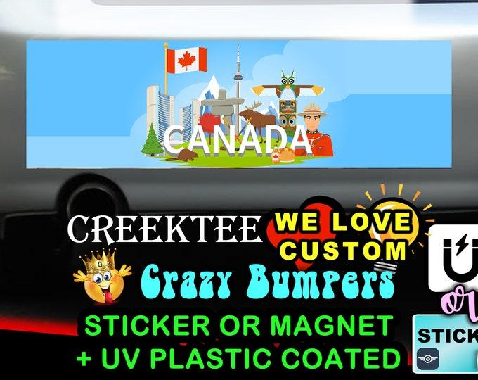 "Canada Bumper Sticker or Magnet in new sizes, 4""x1.5"", 5""x2"", 6""x2.5"", 8""x2.4"", 9""x2.7"" or 10""x3"" sizes"