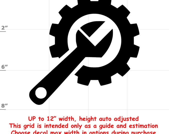 Wrench Gear (1906-C) Vinyl Decal - various sizes and colors - colours