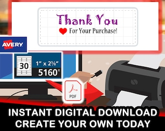 "Avery 5160 ""Thank You For Your Purchase Heart Symbol"" Digital PDF for 30 stickers per sheet"