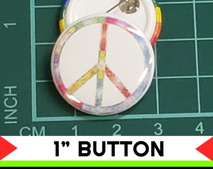 Peace Symbol Rainbow 1 inch buttons. Pin back button