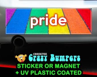 Rainbow Pride Sidewalk 10 x 3 Bumper Sticker or Magnetic Bumper Sticker Available