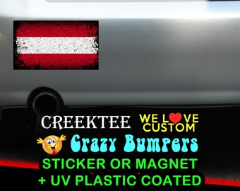 "3 Vinyl Austria Grunge Look Stickers or Magnets coated in 3mil or 4.7mil UV laminate, size is 4 inch X 2 inch (4.1"" x 2.3"")"