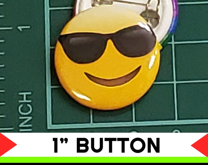 Cool Shades Sunglasses Happy Emoji 1 inch buttons. Pin back button