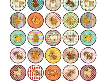 48 Fun Oragami Dog Stickers 1 INCH Round Sticker Sheets - Discounts on larger sticker amount options