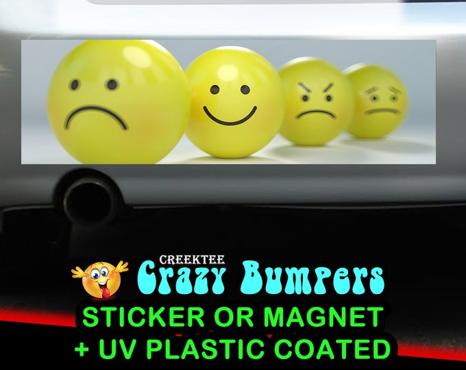 Emotions Emoticons 10 x 3 Bumper Sticker or Magnetic Bumper Sticker Available