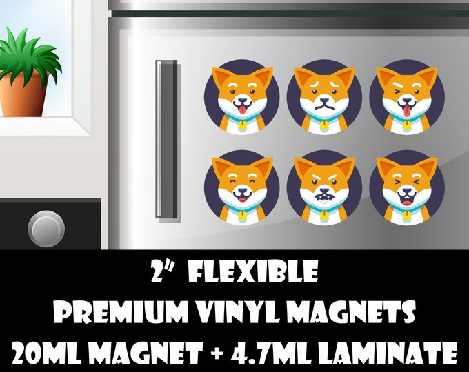 6 2inch cat emoji fridge magnets or stickers standard, photo or vinyl print materials with laminate or magnet options available.