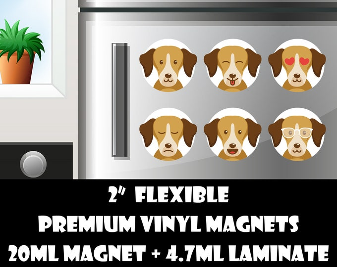 6 2inch dog emoji fridge magnets or stickers standard, photo or vinyl print materials with laminate or magnet