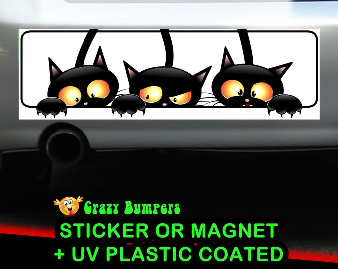 3 Cats Bumper Sticker 10 x 3 Bumper Sticker or Magnetic Bumper Sticker Available