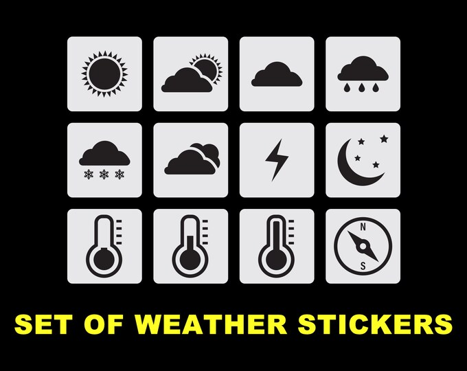 "1"" X 1"" Set of weather Stickers , 12 stickers per set for planner or w.h.y- great for planners, standard, vinyl premium"