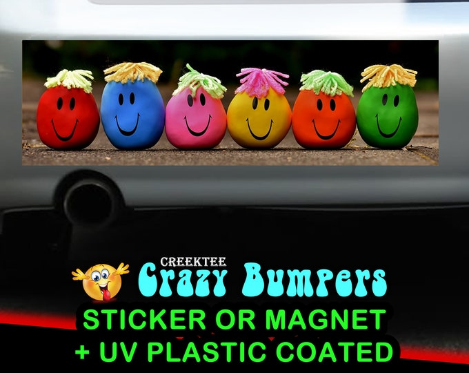 Laughing Emojis 10 x 3 Bumper Sticker or Magnetic Bumper Sticker Available