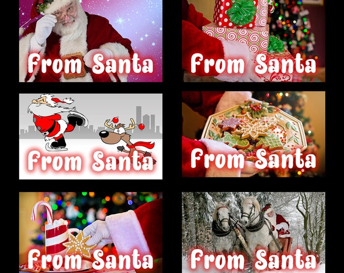 20 assorted premium classic From Santa 2 1/2 inch wide x 1 1/2 inch high Christmas Gift Tag Stickers - Christmas gifts
