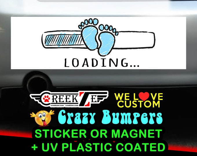 Blue Feet Baby Loading Bumper Sticker or Magnet, various sizes available! Customizable