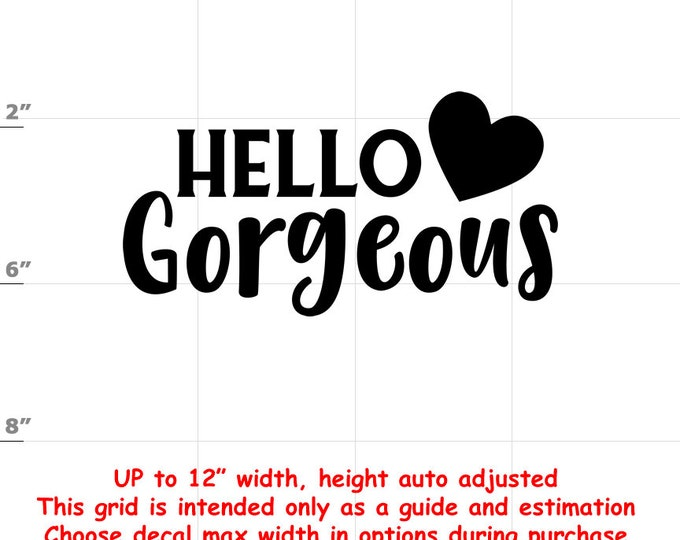 Hello Gorgeous - Fun Decals various sizes and colors - colours
