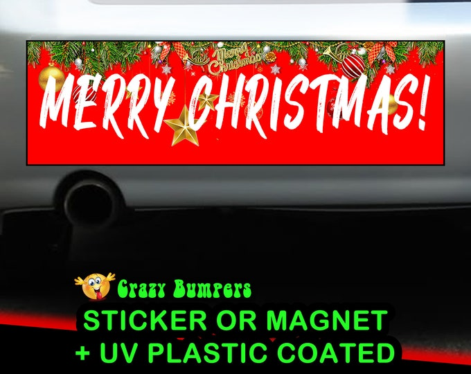 "UV Protected ""Merry Christmas!"" RED Bumper Sticker 10 x 3 Bumper Sticker or Magnetic Bumper Sticker Available"