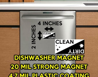 Premium Vinyl Clean / Dirty Dishwasher Magnet 2 inches high x 4 inches wide - black and white - magnet for the dishwasher