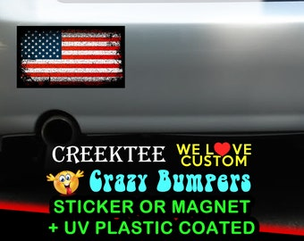 "3 Vinyl USA United States Grunge Look Stickers or Magnets coated in 3mil or 4.7mil UV laminate, size is 4 inch X 2 inch (4.1"" x 2.3"")"