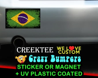 "3 Vinyl Brazil Grunge Look Stickers or Magnets coated in 3mil or 4.7mil UV laminate, size is 4 inch X 2 inch (4.1"" x 2.3"")"