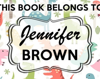 Personalized Book Labels for kids and children's book library custom stickers personalized, 8 stickers per sheet.