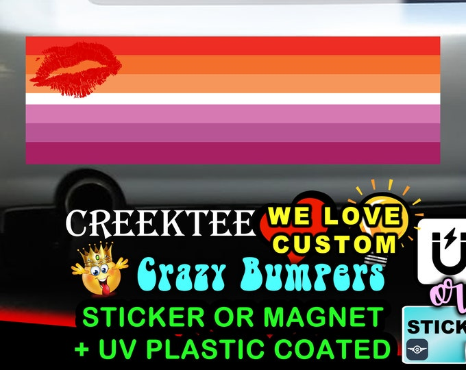 """Lesbian Sunset Flag Bumper Sticker or Magnet in new sizes, 4""""x1.5"""", 5""""x2"""", 6""""x2.5"""", 8""""x2.4"""", 9""""x2.7"""" or 10""""x3"""" sizes"""