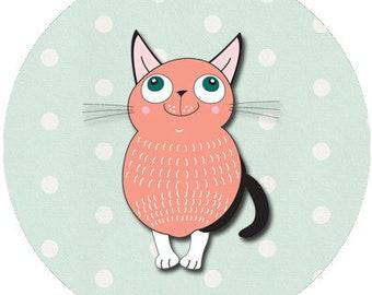 Cat Oragami Print Fun 1 inch buttons. Pin back button
