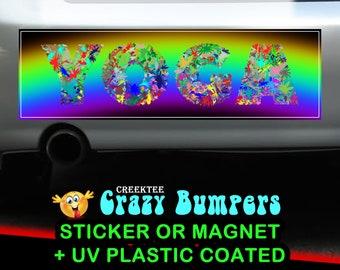 YOGA 10 x 3 Bumper Sticker or Magnetic Bumper Sticker Available