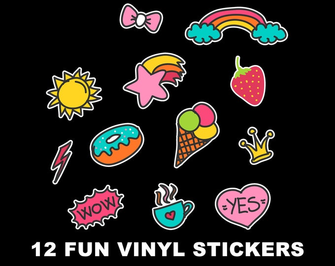 12 Fun Vinyl Stickers in Various Sizes see Images For Sizing, ice cream, sun, donut, strawberry, rainbow, crown, heart stickers or magnets