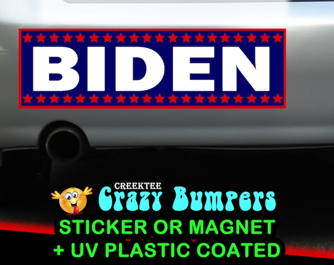 "10X - 9"" x 2.7"" Joe Biden 2020 bumper sticker or magnet, Biden Election Sticker 9 x 2.7 Sticker Magnet or bumper sticker or bumper magnet"