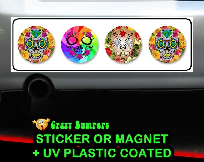 Skull Candy Bumper Sticker 10 x 3 Bumper Sticker or Magnetic Bumper Sticker Available