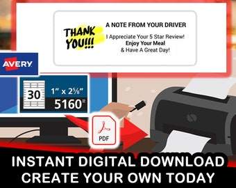 Avery 5160 Door Dash, Skip The Dishes, Uber Eats Reviews Digital PDF for 30 stickers per sheet - 3 across by 10 down - instant download