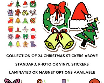 24 fun christmas stickers in standard, photo or vinyl print materials with laminate or magnet options available.  Premium full color.