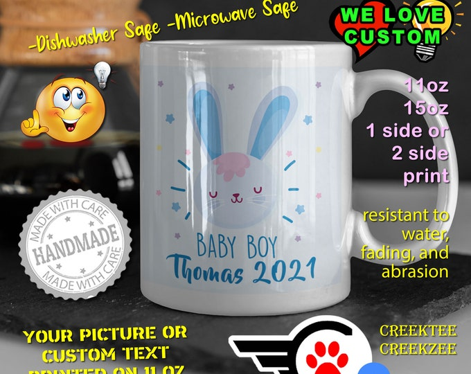 Gender Reveal Baby Boy Personalized Name Mug, Custom Funny Mug Custom Name 11oz Coffee Mug, choose your color or font