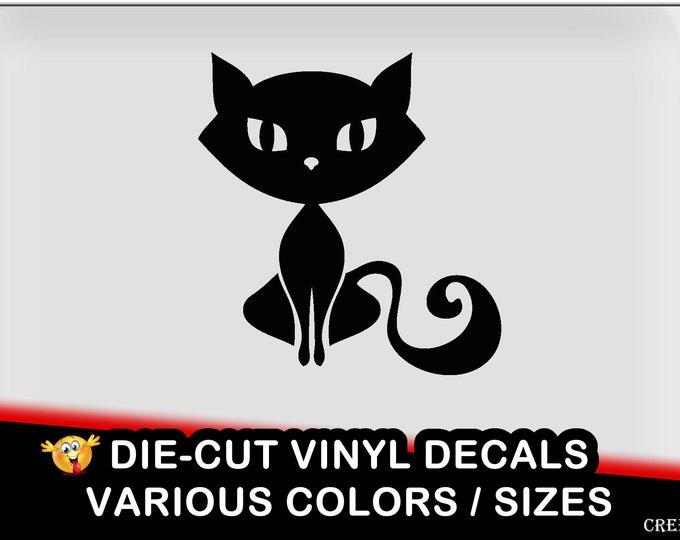 Cat vinyl decal - fun vinyl decal in various colors