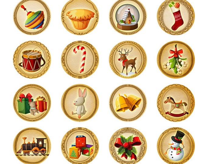 Fun Christmas 1 INCH Round Sticker Sheets for gifts - 21 Stickers per Sheet