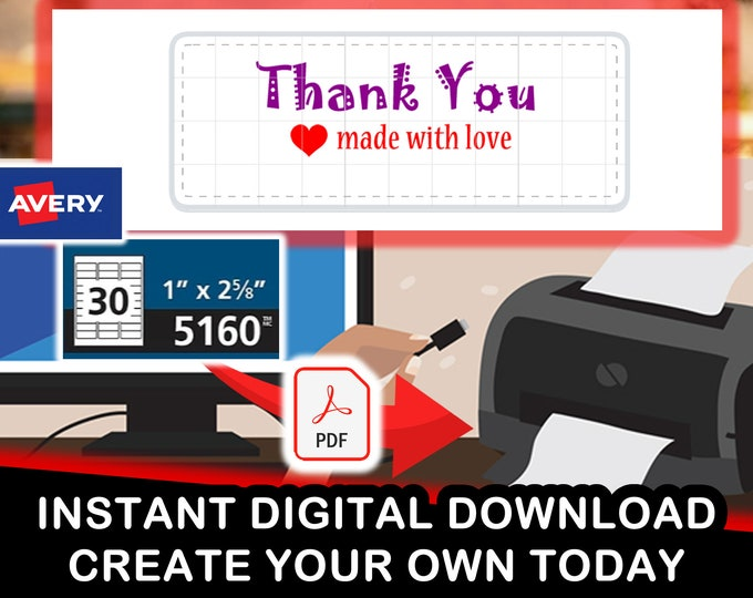 "Avery 5160 ""Thank You Made With Love Heart Symbol"" Digital PDF for 30 stickers per sheet"