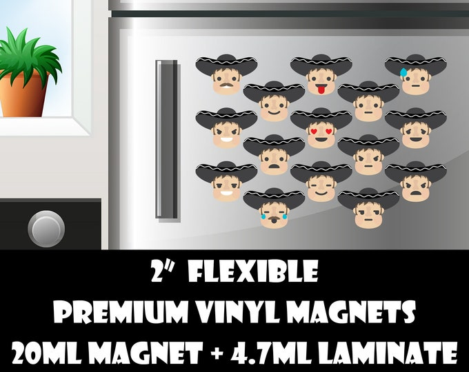 15 2inch merachi emoji fridge magnets or stickers standard, photo or vinyl print materials with laminate or magnet options available.