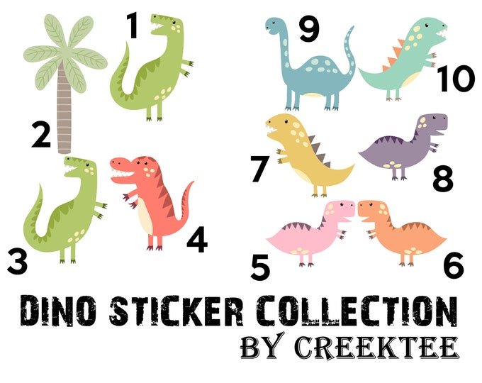 Dinosaurs Stickers glossy or vinyl assorted quantity 3 inchs wide dino sticker collection or individual in lots of 10