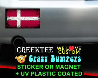 "3 Vinyl Denmark Grunge Look Stickers or Magnets coated in 3mil or 4.7mil UV laminate, size is 4 inch X 2 inch (4.1"" x 2.3"")"