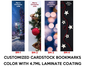 Three 2x8 inch personalized Christmas Season bookmarks