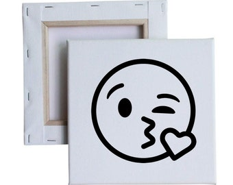 Blow kiss emoji 10x10 Canvas Art with melted vinyl print - Customize with your own design, ask us!