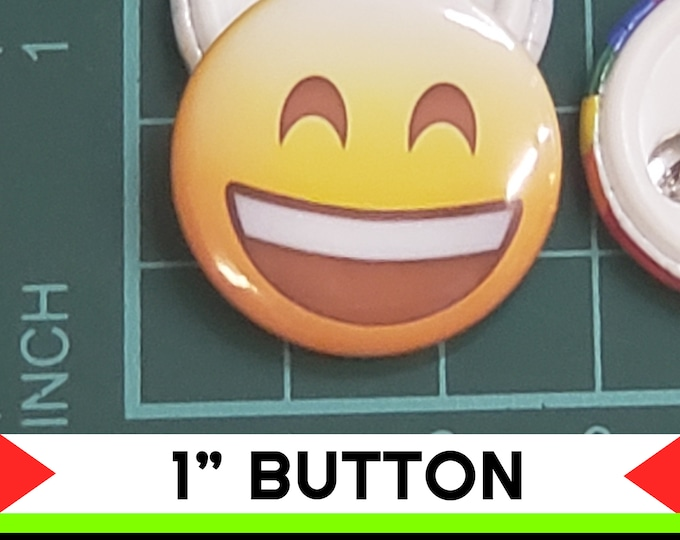Happy Emoji 1 inch buttons. Pin back button