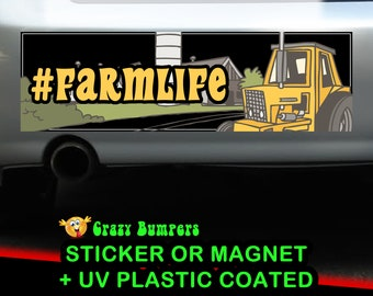 Farm Life Hashtag Sticker 10 x 3 Bumper Sticker or Magnetic Bumper Sticker Available